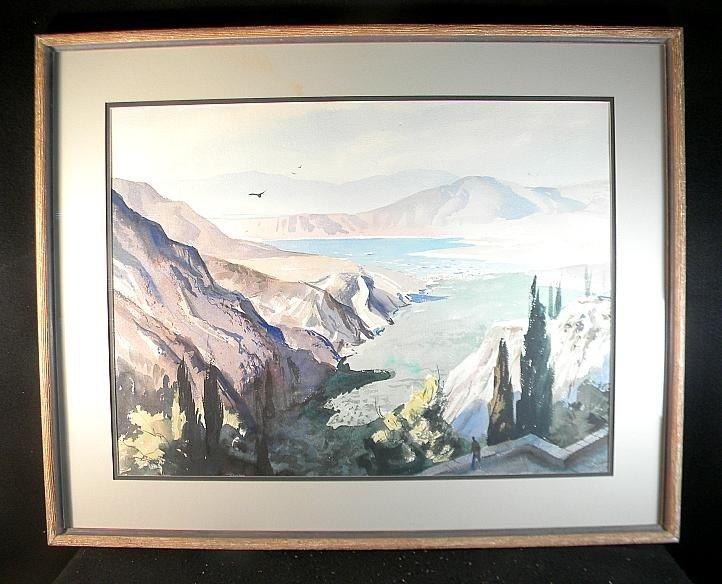 13: John Pike Large w/c Mountainous Landscape w/Lake