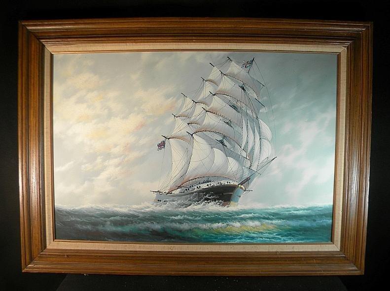16: J. James o/c Large Masted Ship w/British Flags