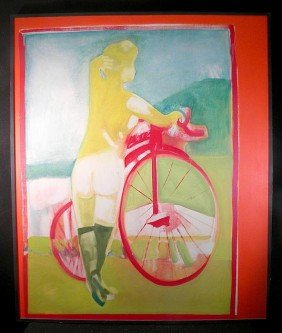 George Bogdanovitch Large O/c 1968 Nude Bicyclist