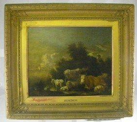 Nicolaes Berghem 17th C (?) O/c Landscape W/ Cows