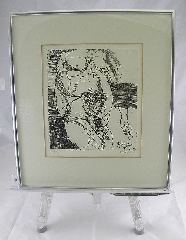 9B: Leonard Baskin Signed Print Nude Male Torso AP 1967