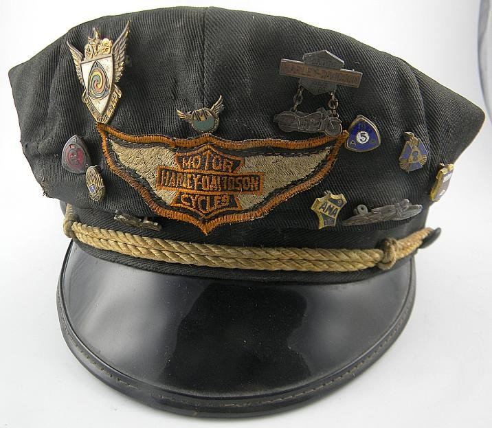 1H: HARLEY DAVIDSON 50s Hat W/ 11 Old Pins Incl 25,000