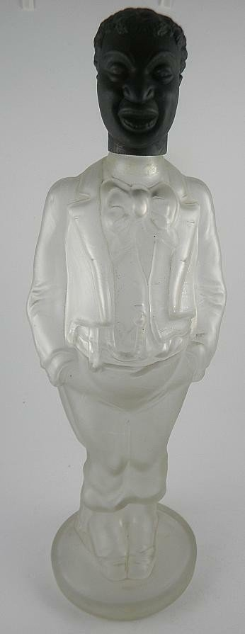 4A: Rare Figural Glass Bottle Black Man With Ceramic He