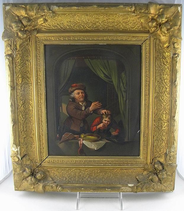 8D: 19th C Oil On Tin Panel Dentist Pulling Boys Tooth