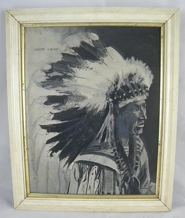 8E: Gouache On Paper Painting Of Indian Chief White Swa