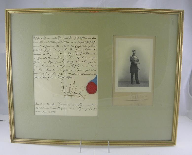 299: Signed Photograph & Document KAISER WILHELM 1894