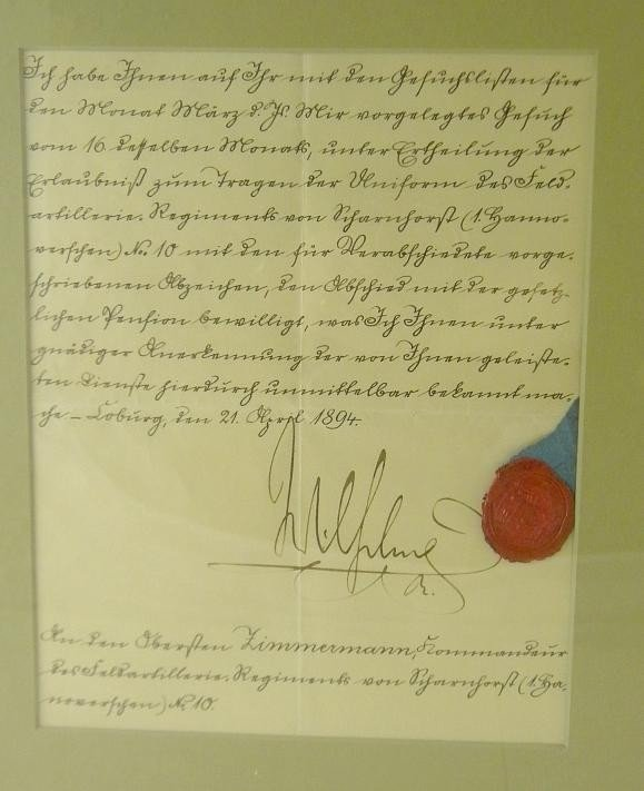 299: Signed Photograph & Document KAISER WILHELM 1894 - 2