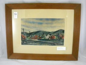 Leo Rackow Watercolor Landscape With Barns Woodstoc