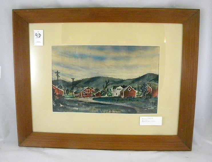 9D: Leo Rackow Watercolor Landscape With Barns Woodstoc