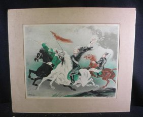 WILLIAM GROPPER Signed Lithograph Soldiers Fighting