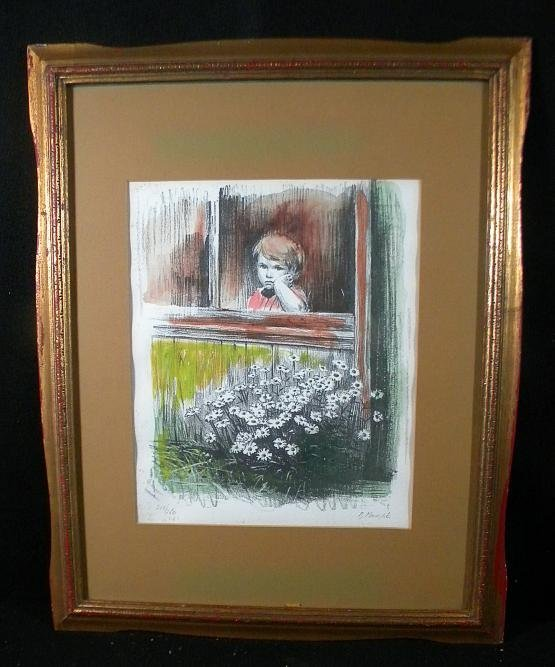 88: Print Young Boy In Window by B Menashe 218/250