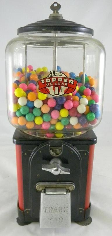 22: Old TOPPER DELUXE One Cent Gumball Machine