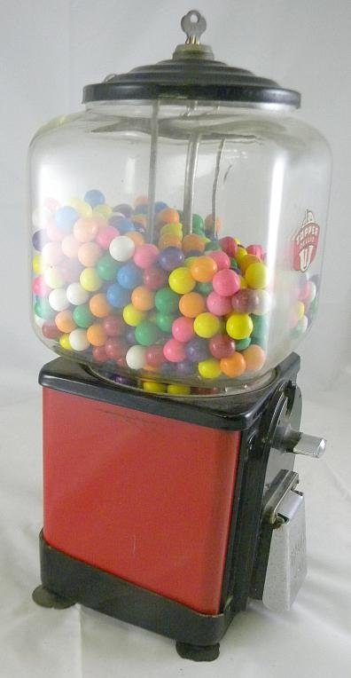 22: Old TOPPER DELUXE One Cent Gumball Machine - 2