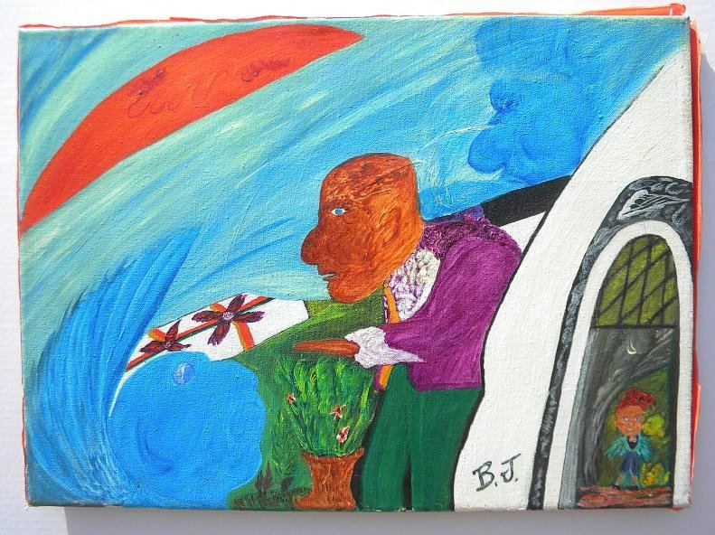 53: B J NEWTON Outside Art Painting o/c 1972 Untitled