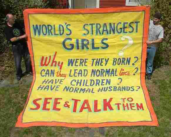 30's CIRCUS SIDE SHOW BANNER for WORLDS STRANGEST