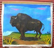 """163: ROBERT COLESCOTT 1982 o/c 84"""" x 72"""" BUFFALO Paint"""