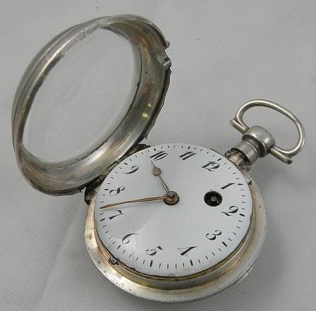 19I: SILVER French VERGE Pocket Watch Circa Late 1700's - 3
