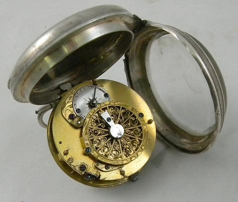 19I: SILVER French VERGE Pocket Watch Circa Late 1700's - 6