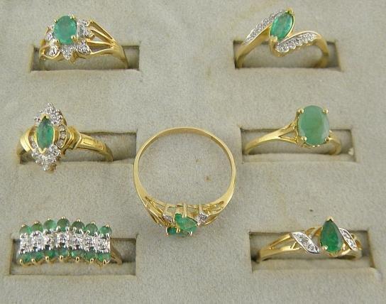 4B: (7) 10K Emerald & Diamond Rings  11.2 Pennyweights