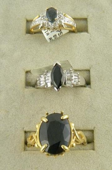 4C: (3) 14K Rings Sapphires with 2 with Diamonds  6.9 P
