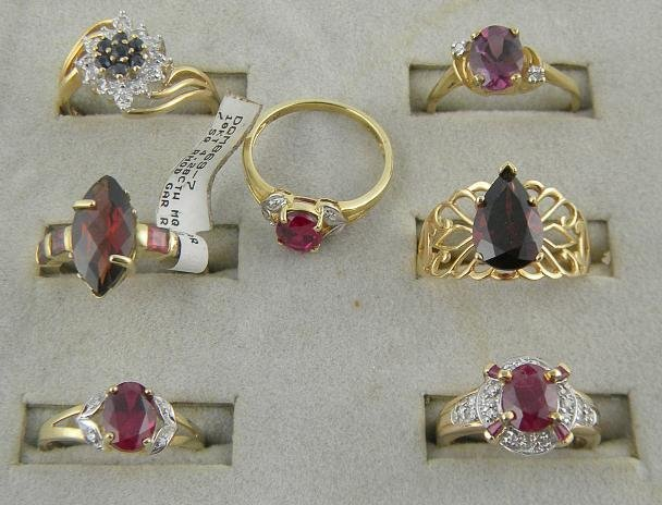 4D: (7) 10K Rings with Semi Precious Stones 14.3 Pennyw