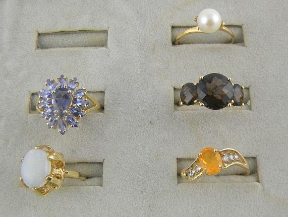 4F: (5) 14K Rings Mixed Stones 11.6 Pennyweights