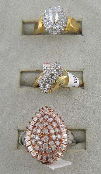 4G: (3) 10K Diamond Cluster Ladies Rings 6.4 Pennyweigh
