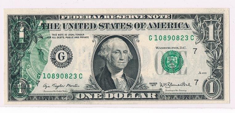 1: Federal Reserve Note Error  $1 G Chicago