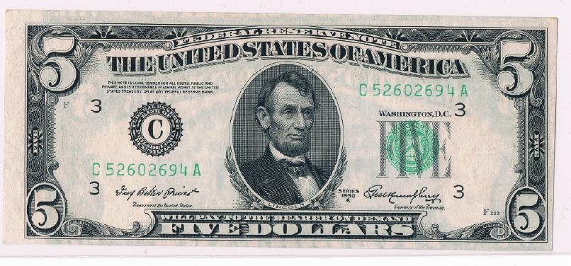 2: Federal Reserve $5 1950 A C Phil. Faulty Alignment E