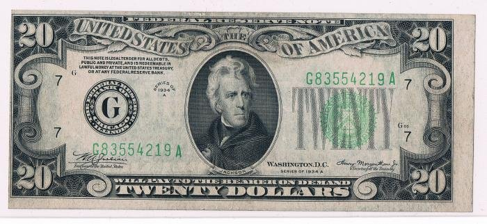 6: Fed. Res. Note $20 1934 A G Chicago Faulty Align. Er