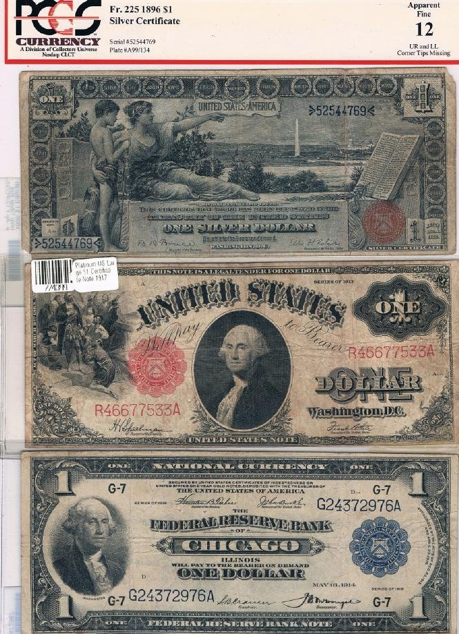 31: 3 Different Large $1 Bills Incl 1896 Silver Certifi