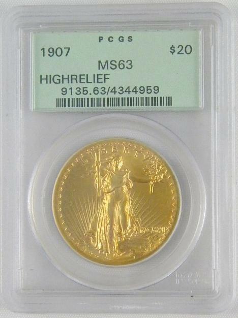 193: 1907 $20 GOLD SAINT GAUDENS HIGH RELIEF MS63 COIN