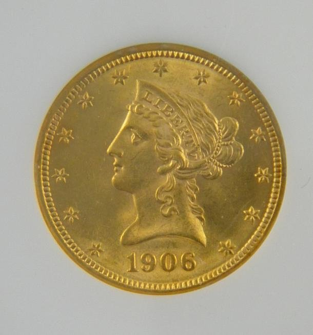 195: Certified 1906 D $10 LIBERTY GOLD COIN  MS63 - 2