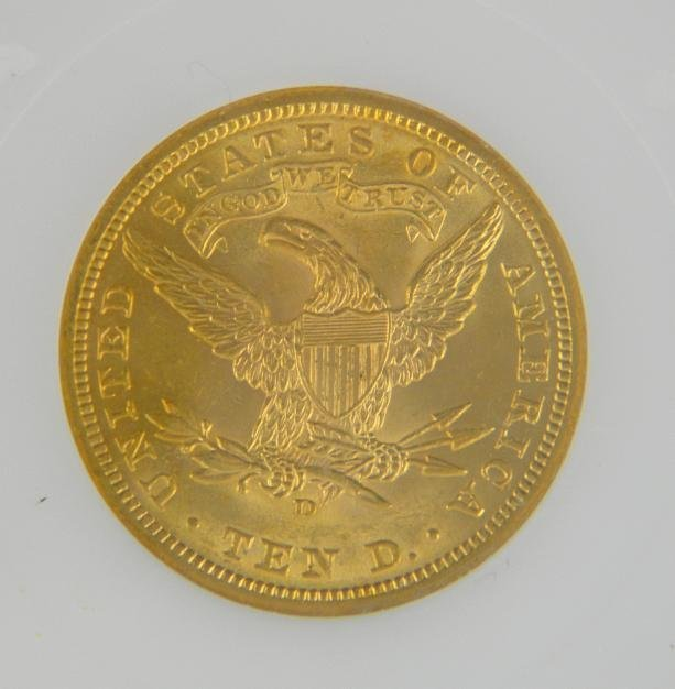 195: Certified 1906 D $10 LIBERTY GOLD COIN  MS63 - 4