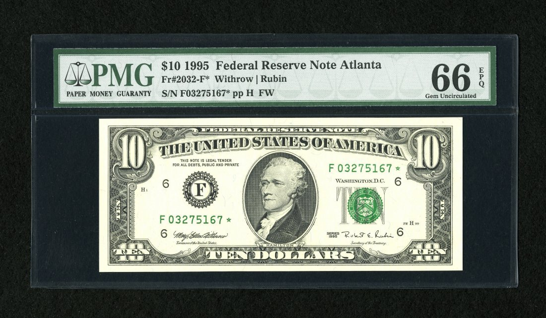 1B: Fr. 2032-F* $10 1995 Federal Reserve Note from scar