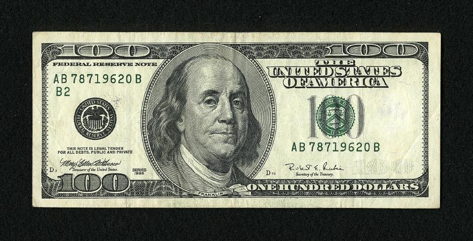 1C: Fr. 2175-B $100 1996 Federal Reserve Note. Very Fin