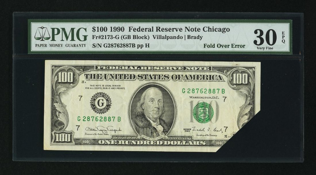 1D: Fr. 2173-G $100 1990 Federal Reserve Note. PMG Very