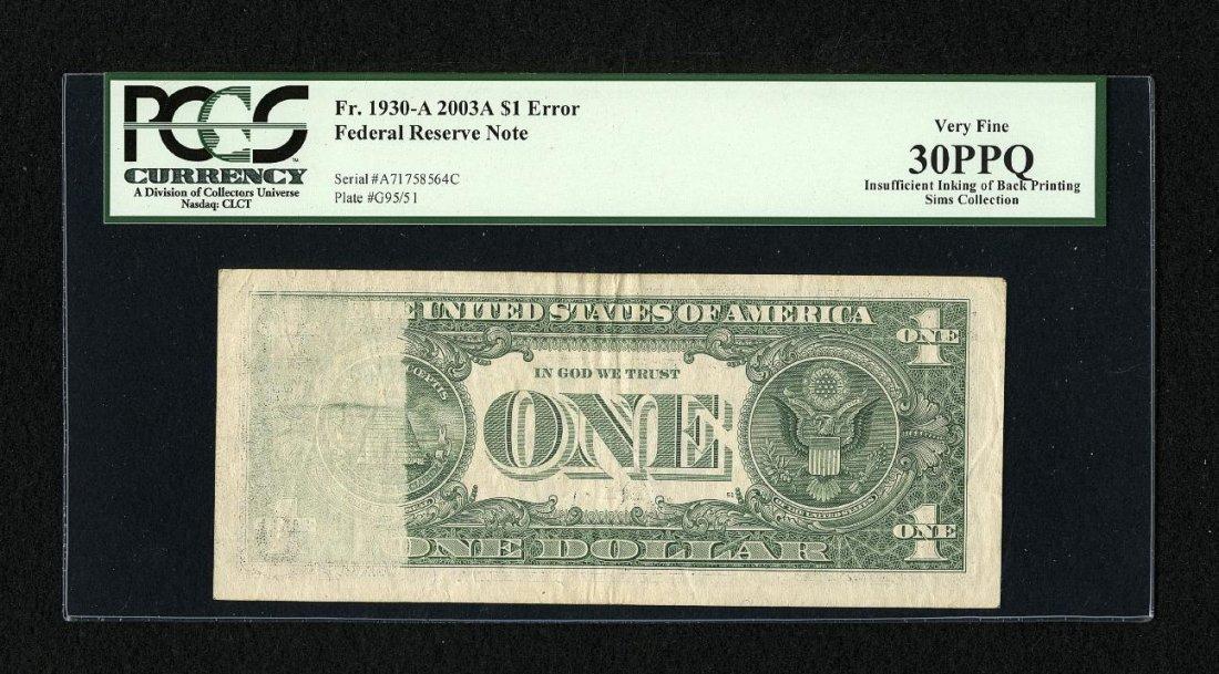 1E: Fr. 1930-A $1 2003A Federal Reserve Note. PCGS Very