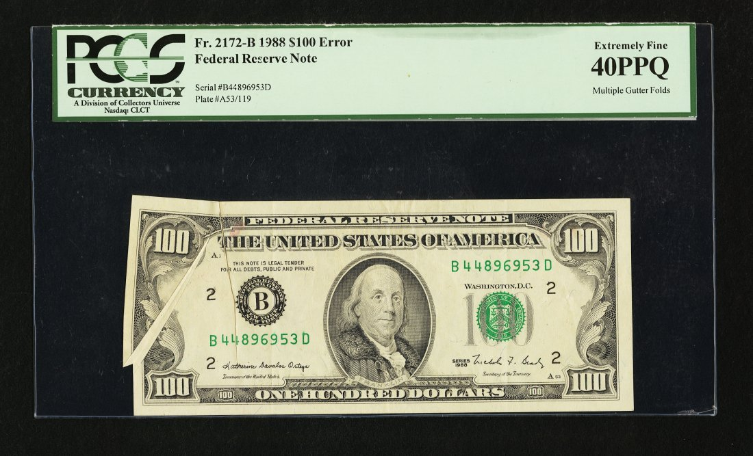 1F: Fr. 2172-B $100 1988 Federal Reserve Note. PCGS Ext