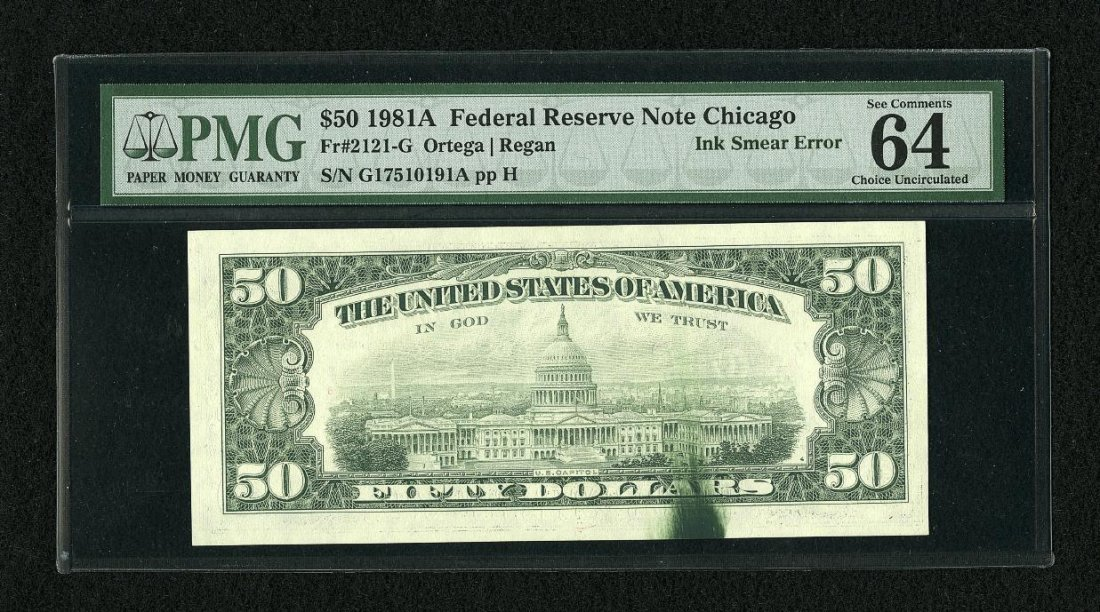 1G: Fr. 2121-G $50 1981A Federal Reserve Note. PMG Choi