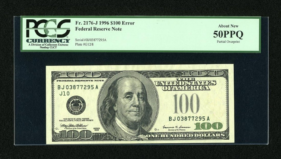 1H: Fr. 2176-J $100 1999 Federal Reserve Note. PCGS Abo