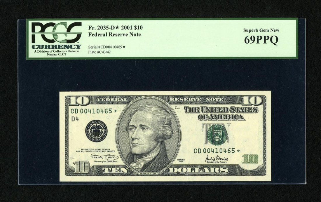 1I: Fr. 2035-D* $10 2001 Federal Reserve Star Note. PCG