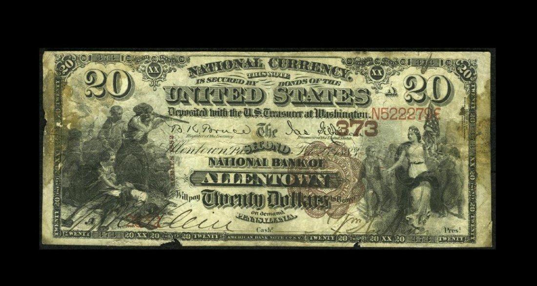 6A: Allentown, PA - $20 1882 Brown Back Fr. 493 The Sec