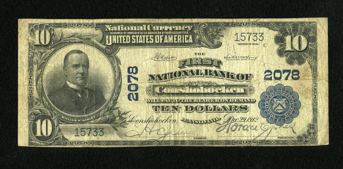 6B: Conshohocken, PA - $10 1902 Plain Back Fr. 628 The