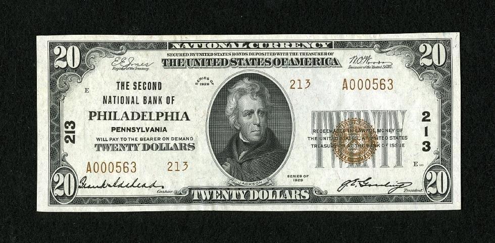 6E: Philadelphia, PA - $20 1929 Ty. 2 The Second NB Ch.