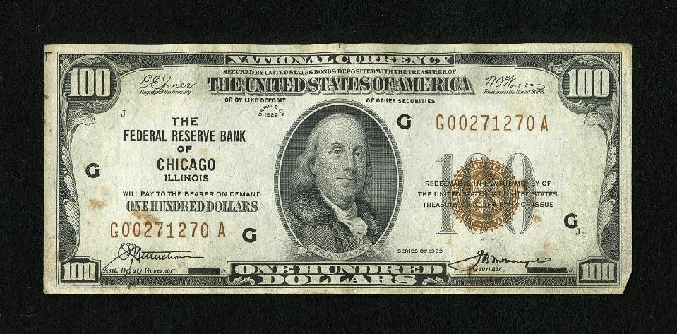 6G: Fr. 1890-G $100 1929 Federal Reserve Bank Note. Ext