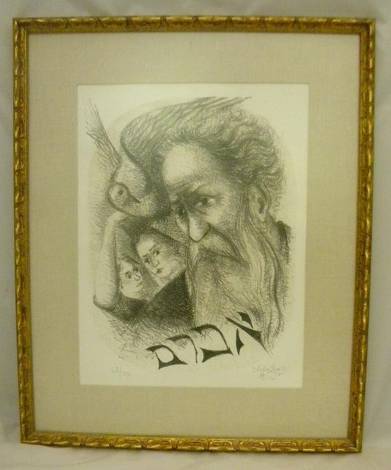 1: CHAIM GROSS JUDAICA SIGNED LITHOGRAPH, 68/150, SIGNE