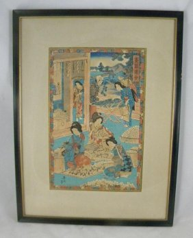2: 19TH CENTURY JAPANESE WOODBLOCK, SIGNED, MEASURES 14