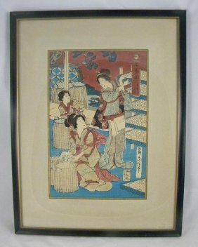3: 19TH CENTURY JAPANESE WOODBLOCK, SIGNED, MEASURES 14