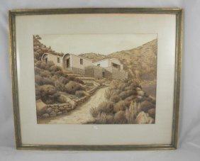 4: MID CENTURY WATERCOLOR HOUSE SIGNED HACKETT, LOOKS L